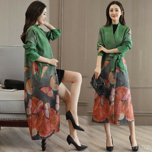 Bælte Chinese Floral Vintage Women Korea Coat Style New Lang Wind Fashion Jacket 1wxTFIqqE