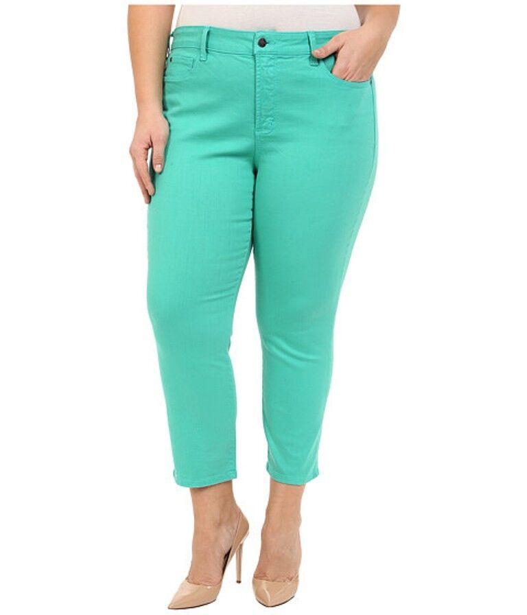 NYDJ Plus Size Ira Slim-Leg Natural Turquoise 24W