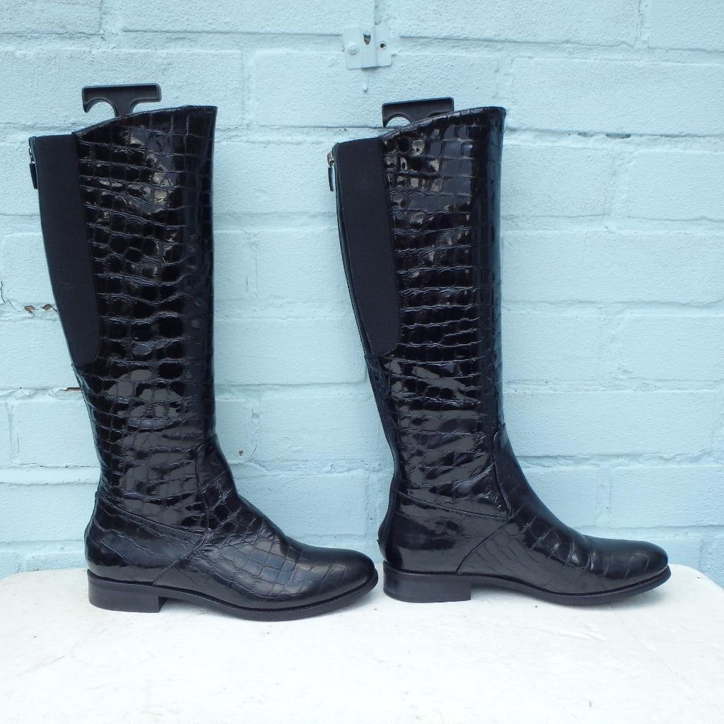 Hobbs Patent Bottes en Cuir Taille UK 4 EUR 37 Pour Femme Croc élastique Bottes Noires