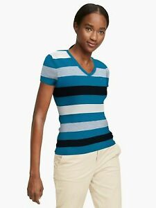 BNEW TOMMY HILFIGER Essential Favorite Multi Stripe Tshirt, Blue Jewel, XXSmall