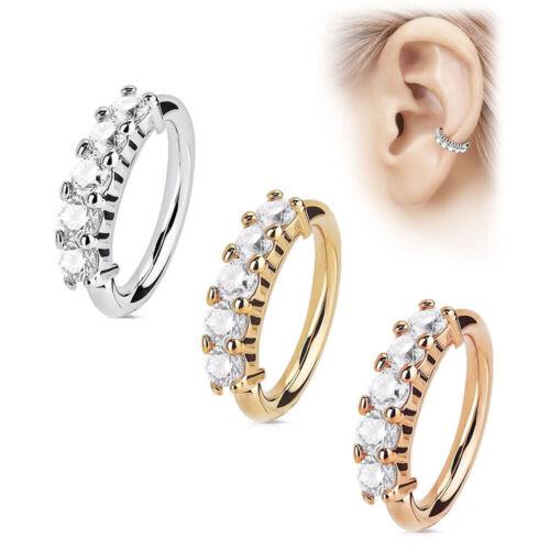 1X Stainless Steel Nose Ring Ear Hoop Tragus Helix Cartilage Earrings Crystal
