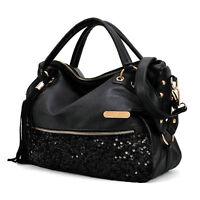 Schwarz Frauen-Handtaschen-Schulter-Beutel PU-ledernen Messenger Bag GY