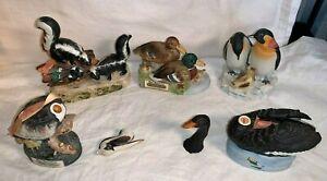 5-SKI-COUNTRY-Whiskey-ANIMAL-Figural-DECANTERS-Swan-DUCK-Skunk-PENGUIN-Pelican