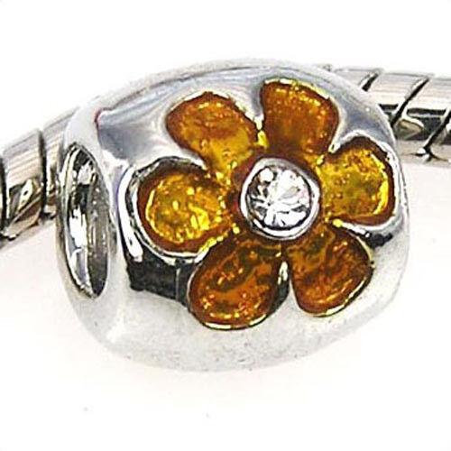 Wholesale 20pcs Yellow Cz Flower Silver Enamel European Bracelet Charm Bead D276