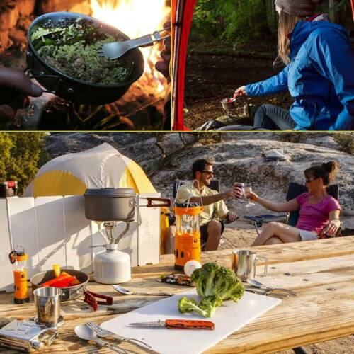 10Pcs Outdoor Portable Camping Cook Cooking Cookware Set Pots Pans Kettle