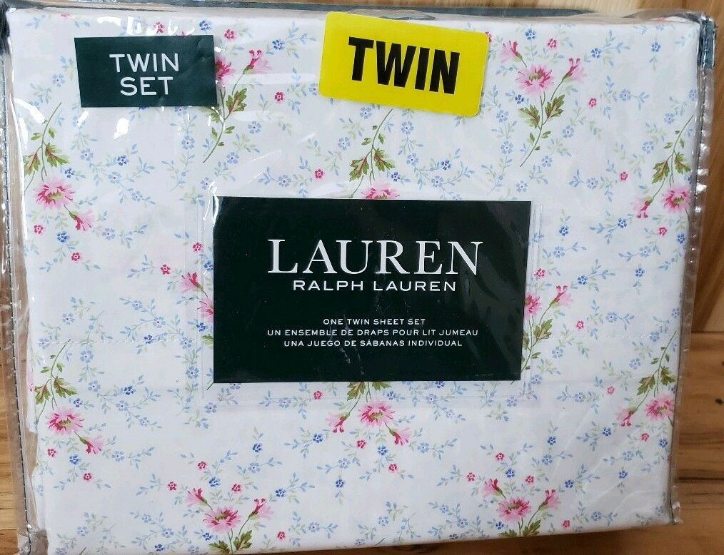 NIP RALPH LAUREN Twin Size 3 Pc Sheet Set Cottage Floral White bluee Pink Green