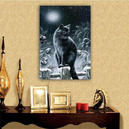 Night Cat Full Drill DIY 5D Diamond Painting Embroidery Cross Stitch Kit UK