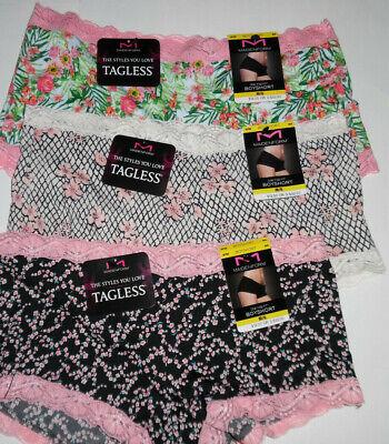 2 Maidenform Panty Set Lace Boy Short Boyshort 40760 Black White Prints 6 M NWT
