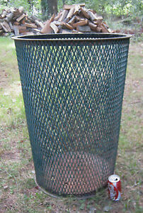 Image Is Loading ANTIQUE CITY PARK STEEL MESH TRASH CAN TABLE