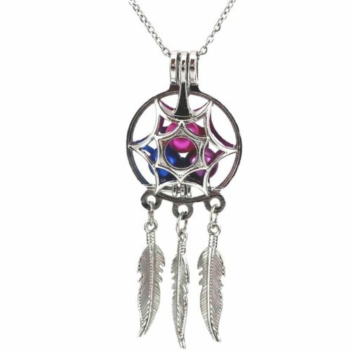 Dream Catcher Perle Cage flottant Médaillon Collier no Akoya Oyster Pearl K616