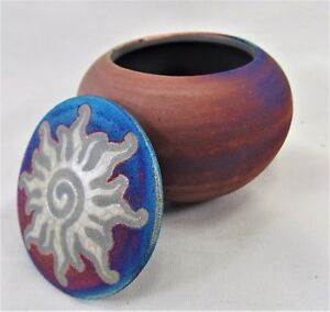Sun Dream Catcher Jar Raku Process Hand Thrown Pottery (B)
