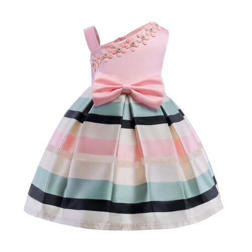 Children Girls Flower Pearls Holiday Dress Birthday Princess Party Dresses ZG8