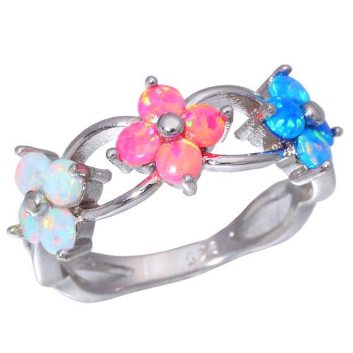 Blue Pink White Fire Opal Women Jewelry Gemstone Silver Ring Taille 5-11 OJ5099