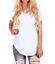 Womens-Summer-Casual-V-Neck-Loose-ShortSleeve-Curved-Hem-TShirt-Side-Slit-Blouse thumbnail 13