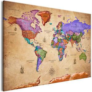 Leinwand Bilder Weltkarte Landkarte Vintage Retro Wandbilder Xxl