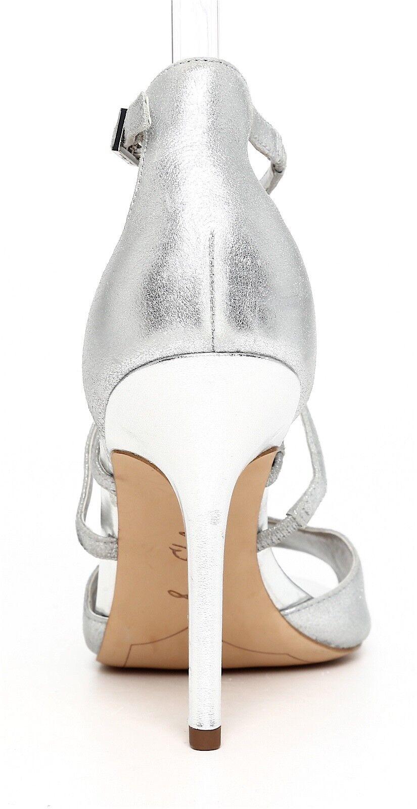 Sam 1313 Edelman Aeryn Leder Sandale Silver Damens Sz 9.5 1313 Sam 248031