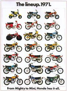 1971 Honda Motorcycle Lineup Sales Ad Brochure Vintage Ebay
