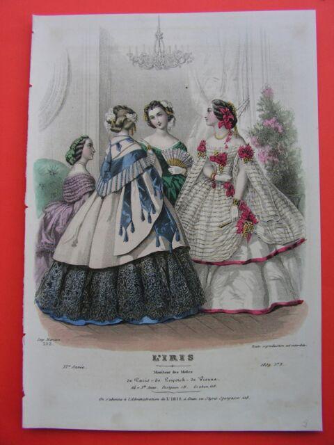 Modestich 1859  Damen Ballkleider, Fächer kolorierter Stahlstich entzückend