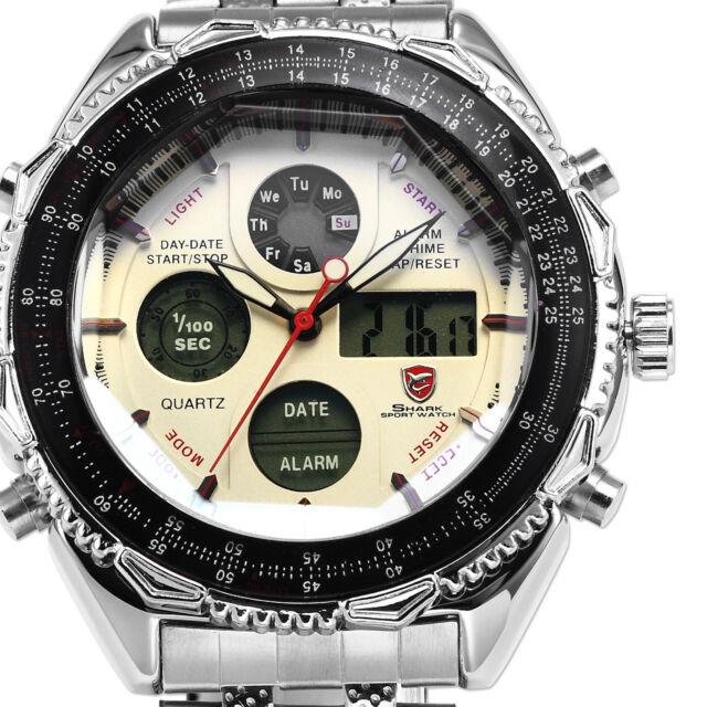 SHARK LCD Date Day Stopwatch Mens Stainless Steel Sport Quartz Wrist Watch