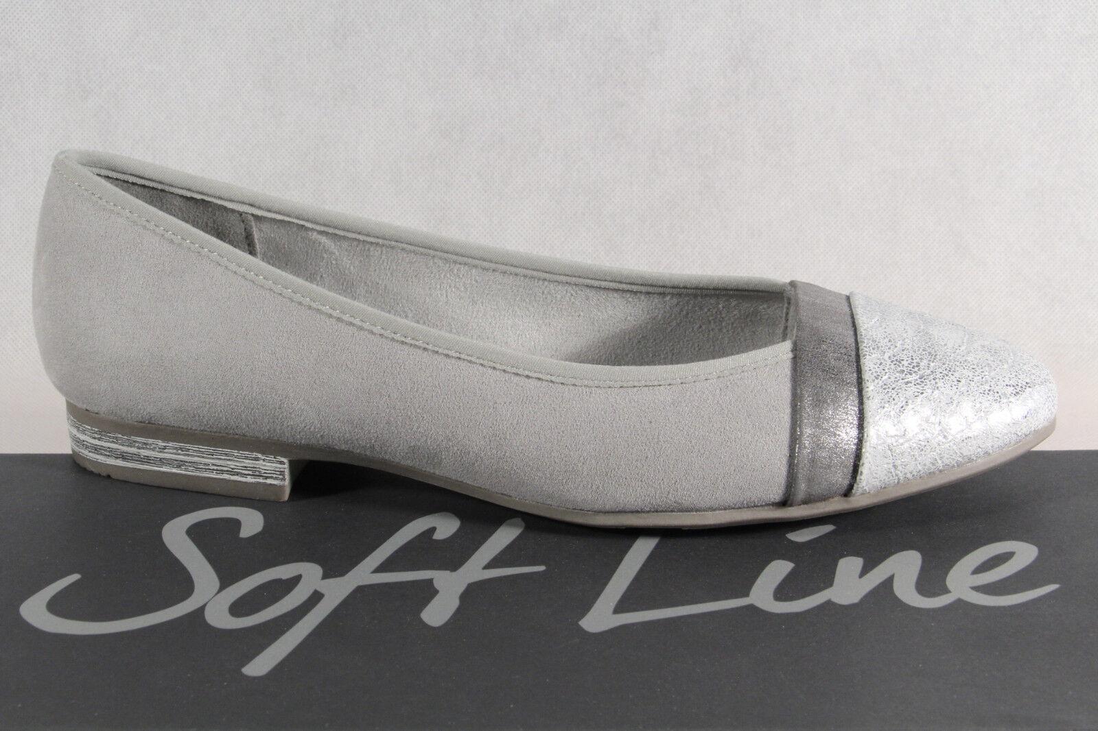 Los últimos zapatos de descuento para hombres y mujeres Descuento por tiempo limitado Suave LINE de Jana Bailarina Mujer Zapatos De Tacón Mocasines Gris Ancho H NUEVO