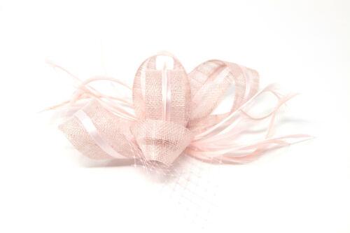 /& Alice Band. Blush Rose bibi ruban et plumes avec peigne clip