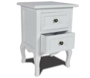 White-2-Drawer-Nightstand-Legs-Classic-Bedside-Table-Bedroom-Storage-Furniture
