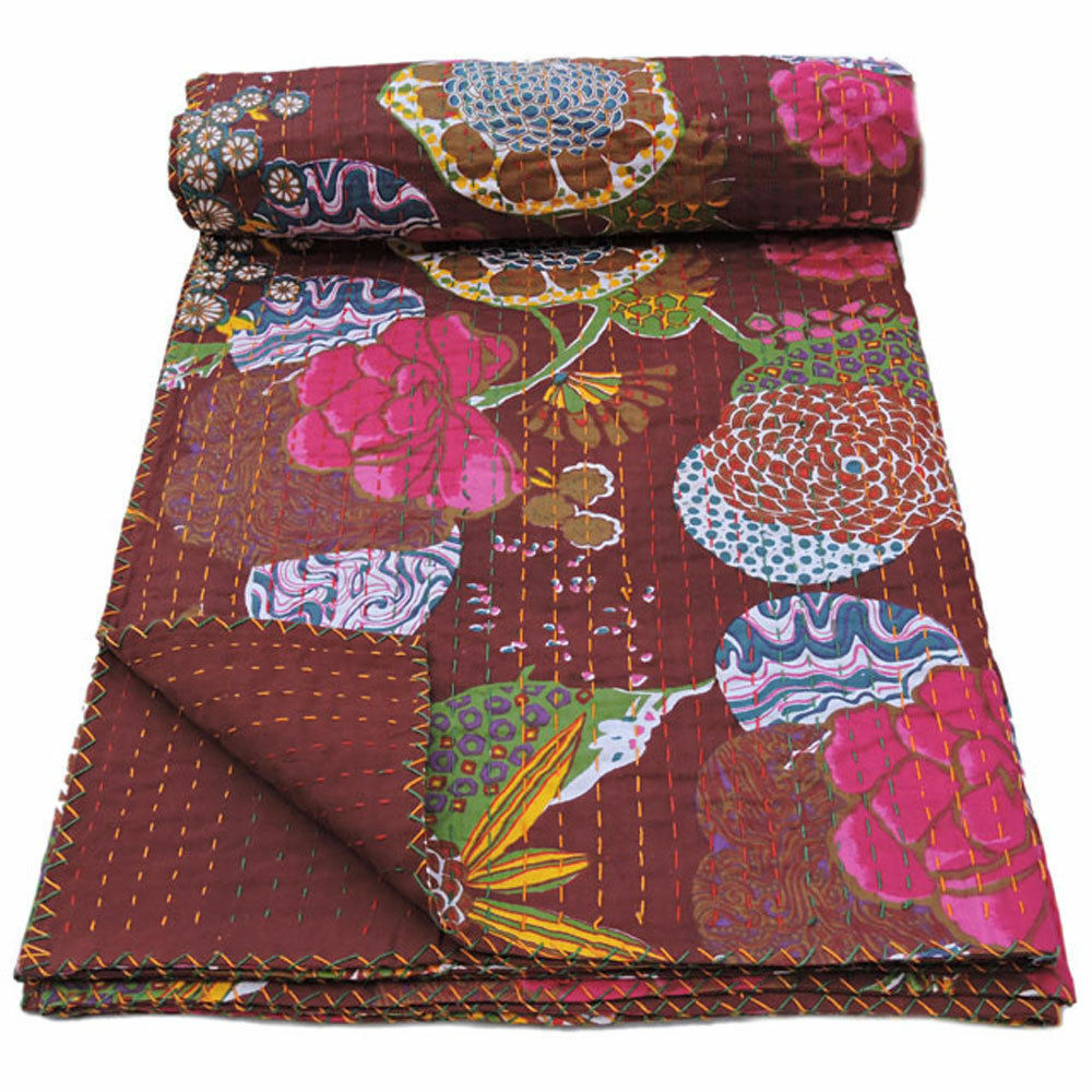 Quilt Bed Cover Indian Kantha Throw Twin Size Bedspread Floral Print Kantha