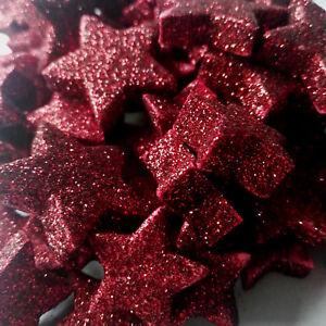 60 X Leichte Sterne Rot Streuen Glitzer Dekoration Styropor