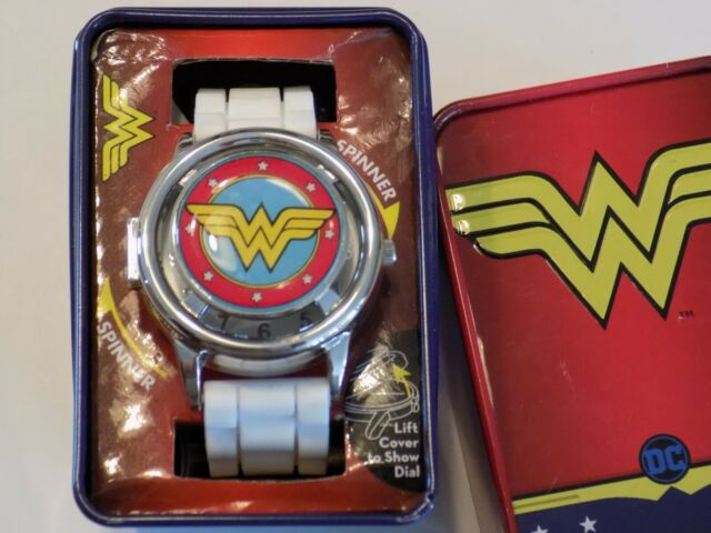 New DC Comics Wonder Woman Justice League Fidget Spinner Wrist Watch & Metal Tin