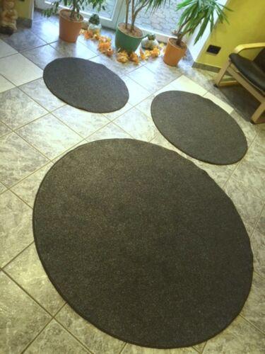 anthrazit in 3 Größen luxeriöser melierter Flauschvelour rund Kreis in grau