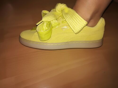 Heart Sneaker 5 Mädchen Original Gelb 38 Puma suede Damen Schuhe Schleife vwAKq7S