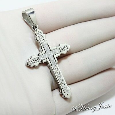 MEN Stainless Steel Silver Greek Key Design Cross Charm Pendant*SK4