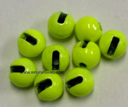 "Tungsten Slotted fly tying Beads Chartreuse 3.0 mm 7//64/"" 100 comte"