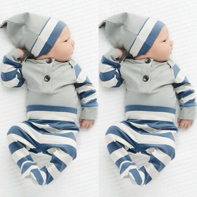 Newborn Infant Baby Boy Girl Tracksuit Animal Printed Long Sleeve Hooded Sweatshirt Striped Pants 2Pcs Outfits Clothes Set