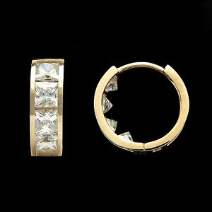Image Is Loading 2 00tcw Princess Cut Created Diamond Huggie Earrings