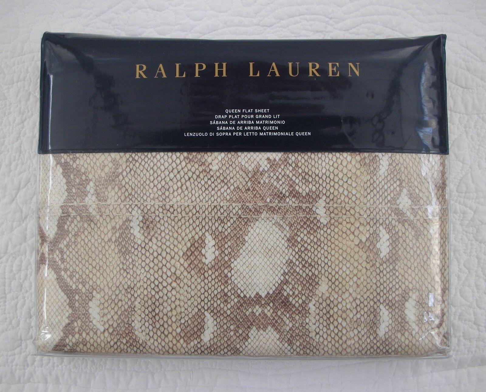 NIP Ralph Lauren Great Sands Python Queen Flat Sheet New SRP  215