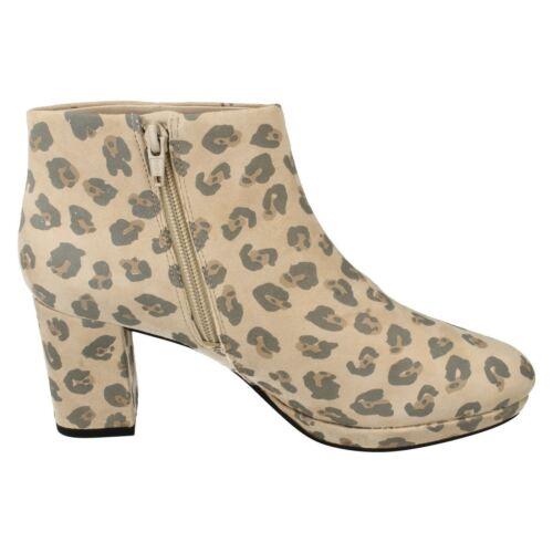 Print Kelda Clarks Nights Leopard Boots Platform Leather Heel Block Ladies Ankle dPwXzqq