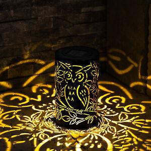 Del Métal Hibou Lampe Solaire Jardin Deco Ambiance Silhouette Lanterne Décoration-afficher Le Titre D'origine Remises Vente
