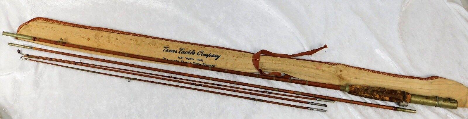 Vintage década de 1940 Fort Worth TX Texas Tackle dividir bambú Fly Rod 8FT