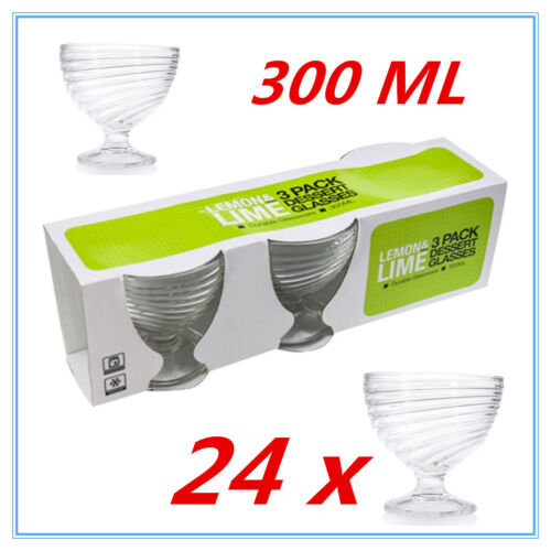 24 x THICK GLASS DESSERT DISHES GLASSES 300ML ICE CREAM WEDDING PARTY FUNCTION A