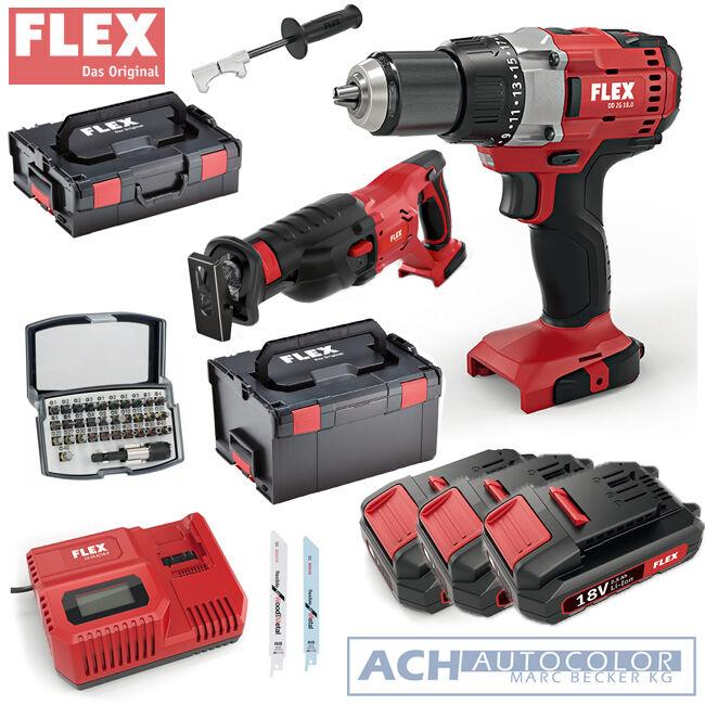 FLEX Akkuschrauber 18 Volt DD 2G + FLEX RS 29 18.0 Säbelsäge 431508 431.508