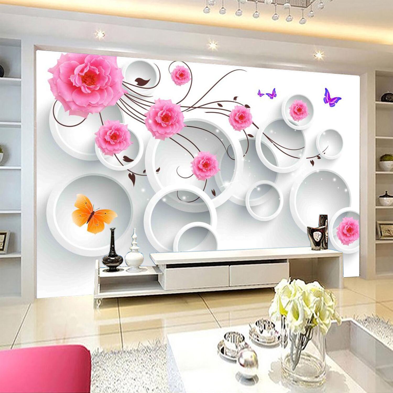 3D colorful Flowers Circle 9054 Wall Paper Wall Print Decal Wall AJ WALLPAPER CA
