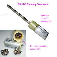 High Torque Dc 6v 12v 108rpm Long Shaft Mini 180 Metal Gear Motor Planetary Box