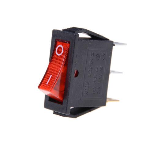 5Pcs//Lot Red Led Light 3 Pin Spst On//Off Boat Rocker Switch 16A//250V 20A//125V FE