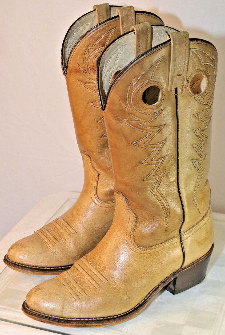 ACME Cowboy Western Boots Tan Men's Sz 8.5 E Leather Upper & Soles