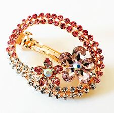 USA BARRETTE Rhinestone Crystal Hair Clip Hairpin Bridal Flower Gold Pink F28