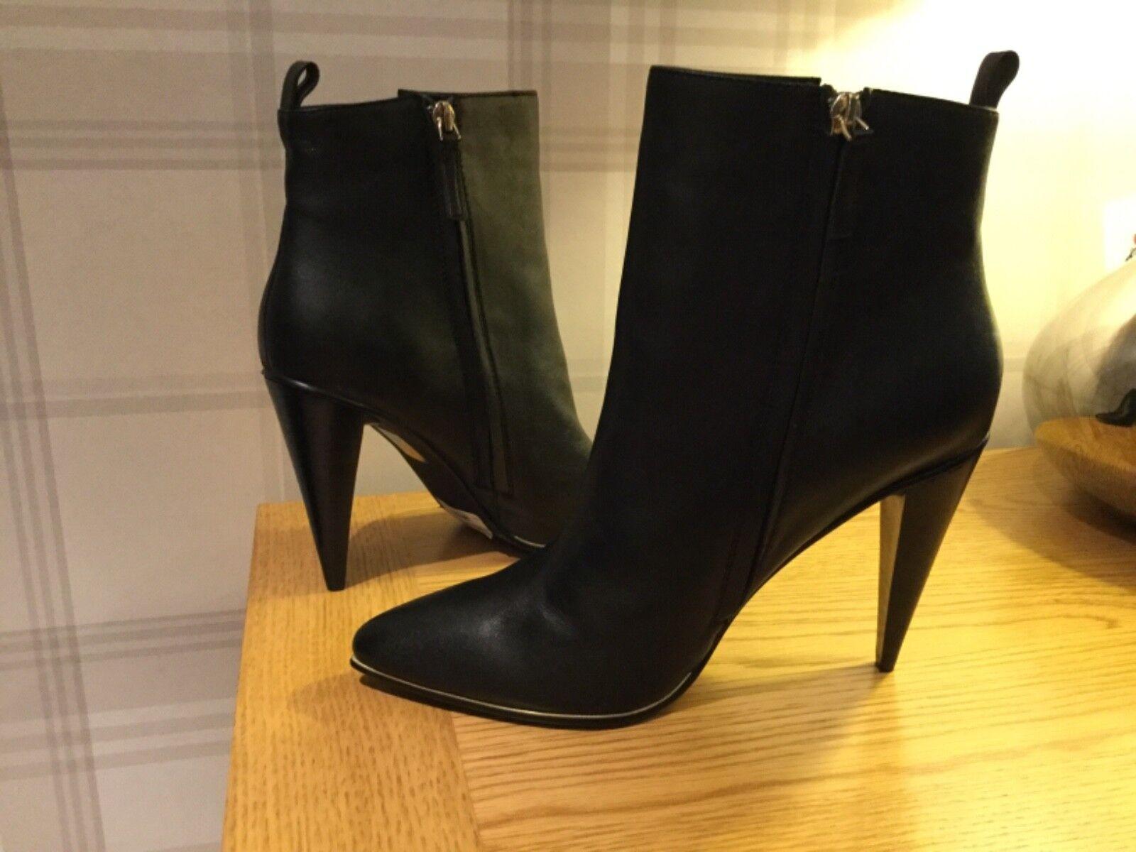 Karen Millen Negro Cuero Tobillo botas UK7 RRP  Nuevo Y En Caja
