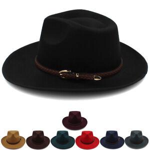 cf77e6dd8f7337 Men Women Felt Wide Brim Panama Hat Sombrero Cap Sunhat Fedora ...