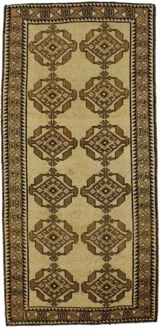 7 Ft Runner Tribal Semi Antique Beige 3'5X7'3 Gabbeh Oriental Hallway Rug Carpet