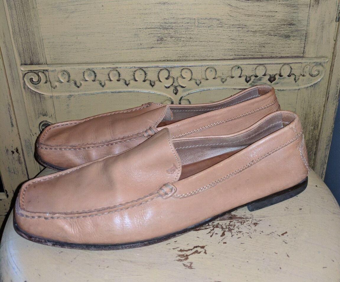 AUTH TODS LEATHER SLIP ON LOAFERS LIGHT BROWN PREOWNED MENS MOCCASINS CASUAL 10